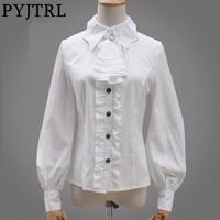 PYJTRL 2017 Autumn Sweet Lolita Bat Collar Vintage Gothic Ruffles Long Sleeve Shirt Women Classic Blusas
