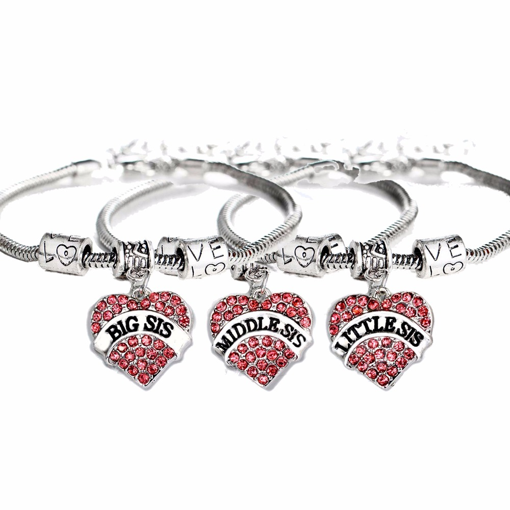 3PC/Set Family Gifts Pink Crystal Heart Charms Big Middle Little Sis Sisters Bracelet Friends BFF Women Love Beads Chain Bangles