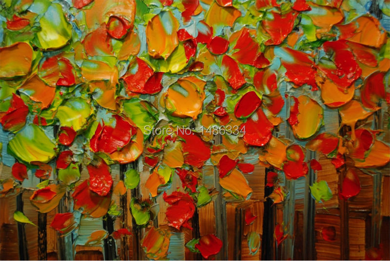 Populair De hand geschilderd canvas schilderen paletmes landschap boom bos  JZ18