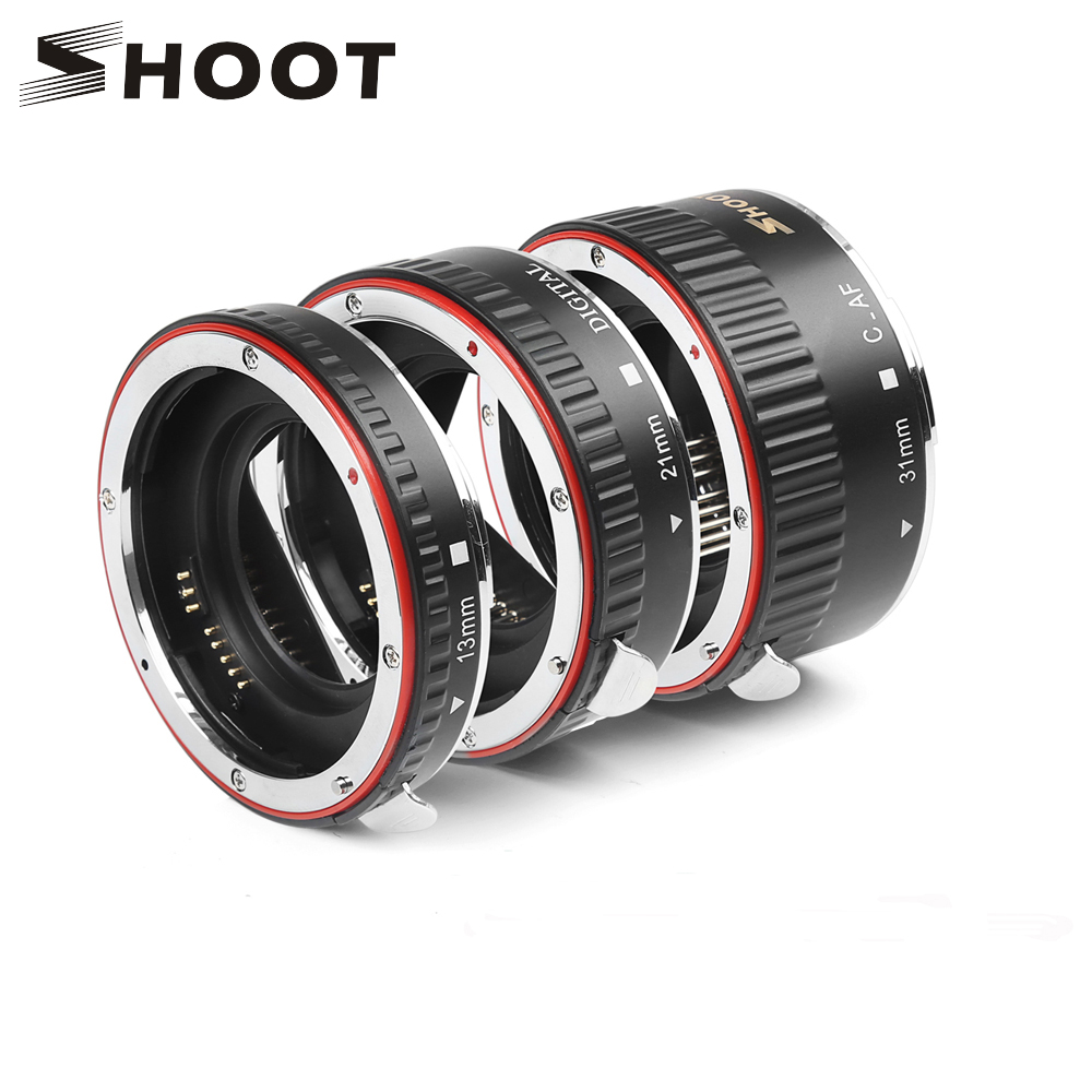 SHOOT Red Metal TTL Auto Focus Macro Extension Ring Ring untuk Canon 600d 500d 80d EOS EF EF-S 60D Untuk Canon Camera Accessory