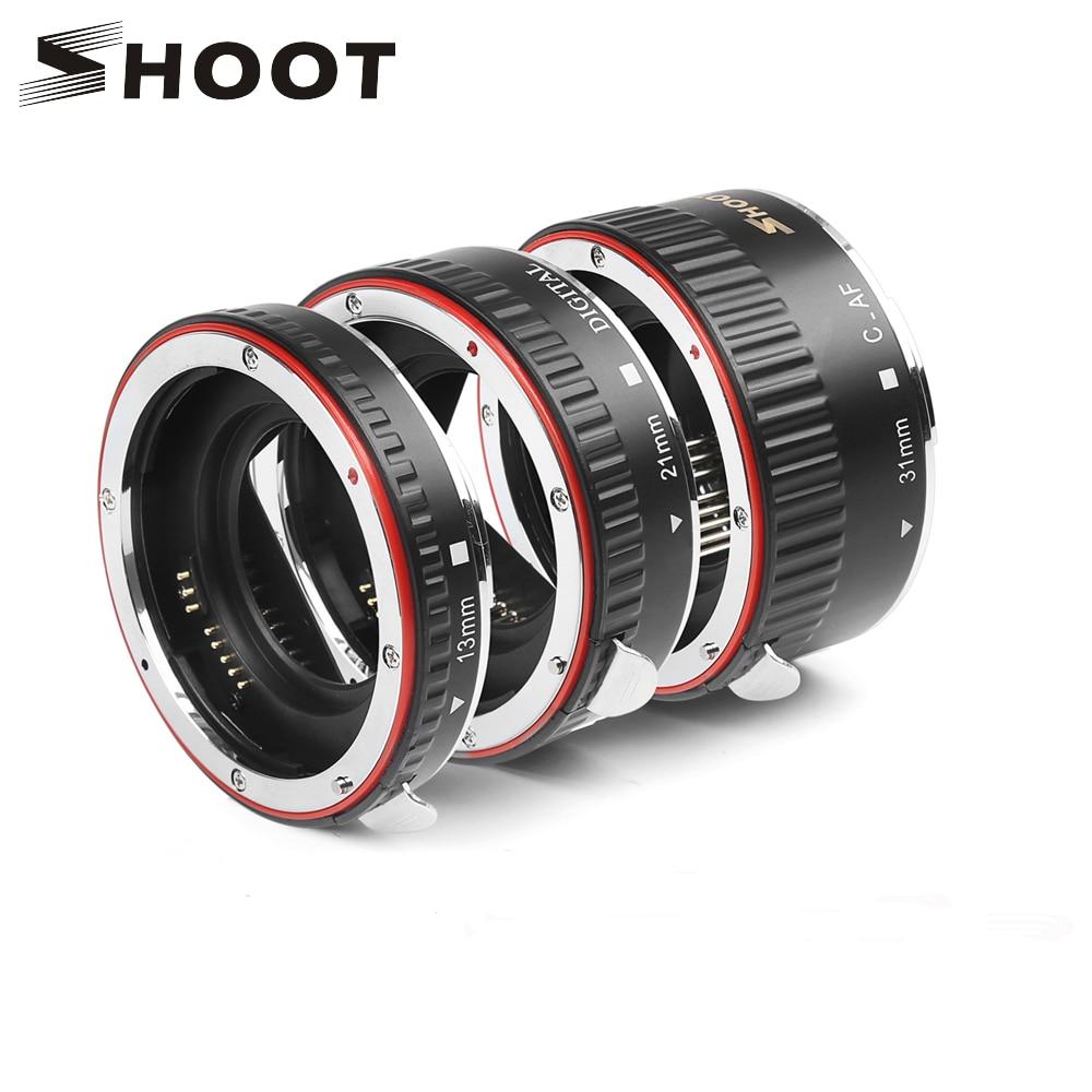 Disparar rojo Metal TTL foco automático Macro anillo de extensión de tubo para Canon 600d 500d 80d EOS EF EF-S 60D para canon cámara accesorio
