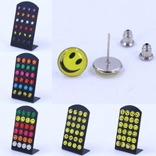 Factory Fashion Jewelry Smile Faces Pringting Colorful Small Stud Earrings,Cheap Resin Oil Dripping Handmade Craft 12pairs
