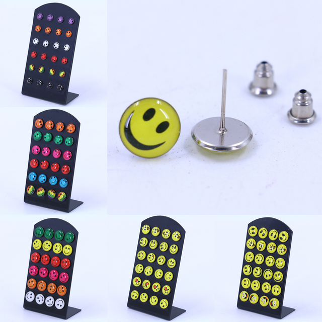 free shipping fashion jewelry smile faces pringting colorful small stud earrings cheap resin oil. Black Bedroom Furniture Sets. Home Design Ideas