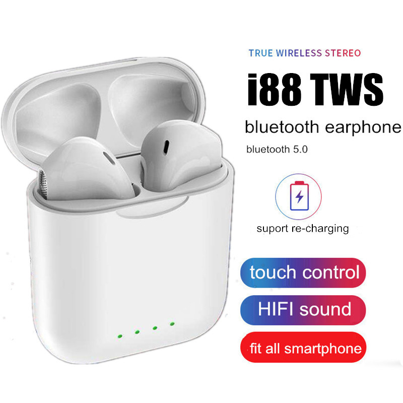 2019 New i88 TWS Bluetooth 5.0 Earphone Mini Wireless Earpod Touch Earbuds Earphones PK i9s i10 Headset For iPhone Andorid(China)