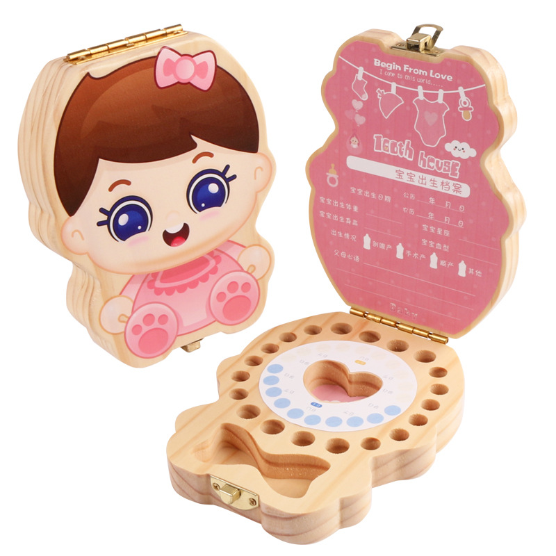 English Baby Tooth Box Kids Organizer Milk Teeth Wooden Storage Baby Teeth Box Boy Girl Save Teeth Umbilical Cord Lanugo