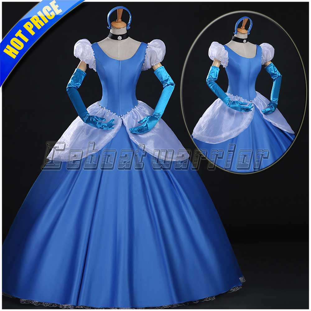 Princess Cinderella Wedding Dress Costume For: Cinderella Princess Cosplay Costume Blue Cinderella Girl