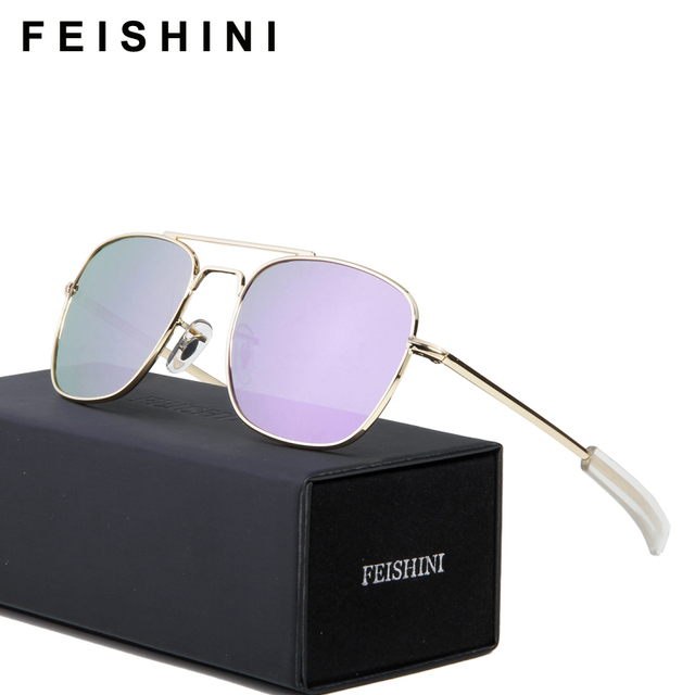 fdc0be1a3bb FEISHINI Classic Military Use Sun Glasses Women HD Vision Strong Impact  Resistance Lens Square Sunglasses For