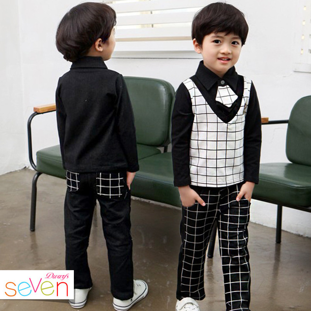 Boys Spring Autumn Korean Children's Classic School Plaid Suit Two Pieces Plus Tie Kids Clothing Grey Black
