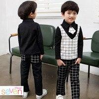 Boys Spring Autumn Korean Children S Classic School Plaid Suit Two Pieces Plus Tie Kids Clothing