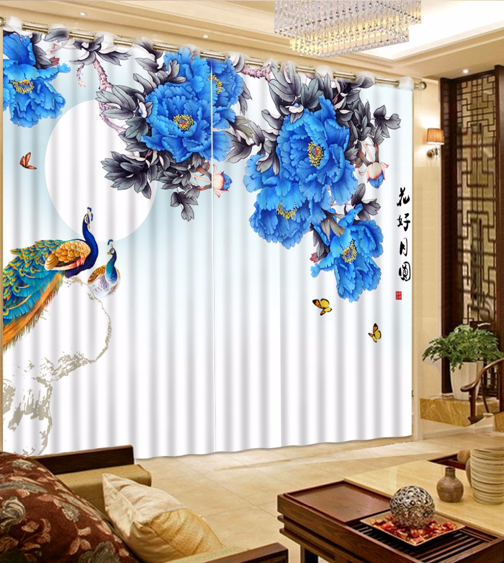 Elegant Flower Curtains Polyester/Cotton Blackout 3D Curtains For Living Room or Office Hotel Drapes Elegant Flower Curtains Polyester/Cotton Blackout 3D Curtains For Living Room or Office Hotel Drapes