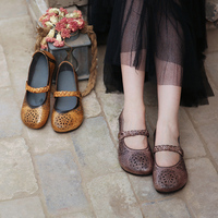 Retro Women Flats Genuine Leather Spring Shoes Ankle Strap Embroidery Flats 2018 Handmade Women Mary Jane Flats Hollow Out Shoes