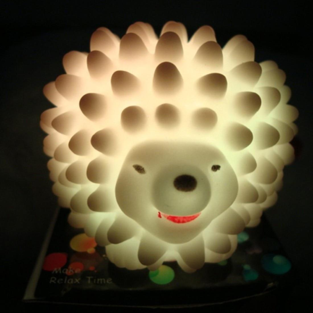 LED Hedgehog Night Light Lamp Desk Lamp Changeable-color Christmas Present Baby Light Home LED Bedside Light Lamp