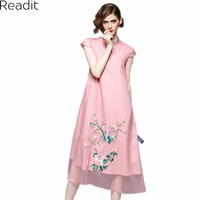 Readit Women Dress 2017 Pink Sky Blue Calf Length Dress Flower Bird Embroidery Chinese Style Loose
