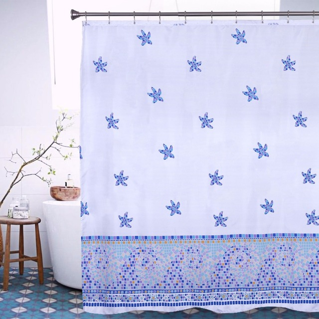 Starfish Blue Shower Curtain Waterproof Mildew Printed Bath Curtain Modern  Christmas Bathroom Decor Shower Curtain 72