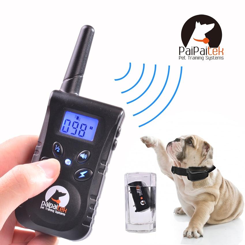 Rechargable Blue Screen 500M Remote Vibration Static Pet Dog Training <font><b>Collar</b></font> Pet Dog No <font><b>Bark</b></font> <font><b>Collar</b></font> <font><b>Bark</b></font> <font><b>Stop</b></font> <font><b>Collar</b></font> For 1 Dog