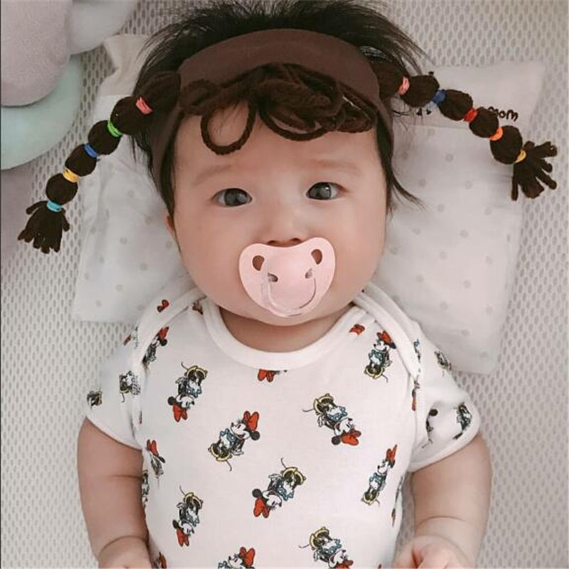 Hot Newborn Baby Cartoon Headband Cotton Hair Band Toddler Girls Wig Braids Hair Accessories Head Wear With Infant Pigtail