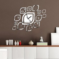 Quartz Wall Clock Leaves Modern Design Reloj De Pared Large Decorative Clocks TV Background 3d Diy Acrylic Mirror Decals
