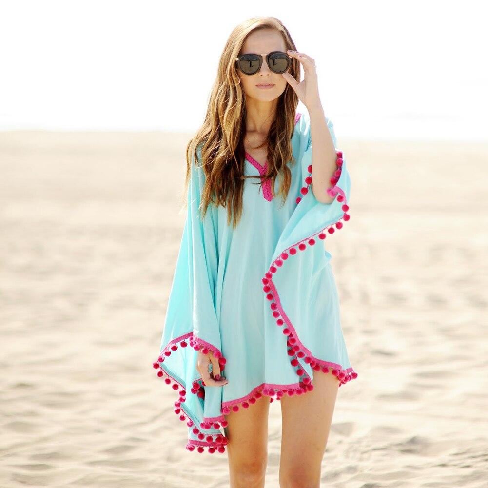 2018 Lace Chiffon puff Fuzzy balls Beach dress fringed tassels robes blouson Tunics Sun block shawl sheer smock frock