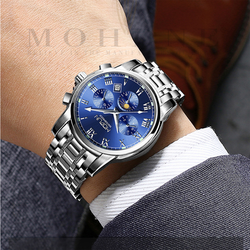 Multi-function 6-pin rotation Moon Phase Top Brand Silver Blue Mens Mechanical Watches Automatic Tourbillon Skeleton Watch Men Multi-function 6-pin rotation Moon Phase Top Brand Silver Blue Mens Mechanical Watches Automatic Tourbillon Skeleton Watch Men