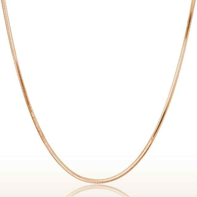 OTOKY 2018 nowa moda 1 PC 2mm różowe złoto okrągły wąż łańcuch naszyjnik srebrny Tone 45 cm Oct.23