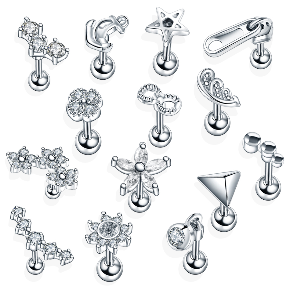 1pc Ear Tragus Piercings Studs Conch Lobe Silver Earrings Helix Barbell Piercing Orelha Cartilagem