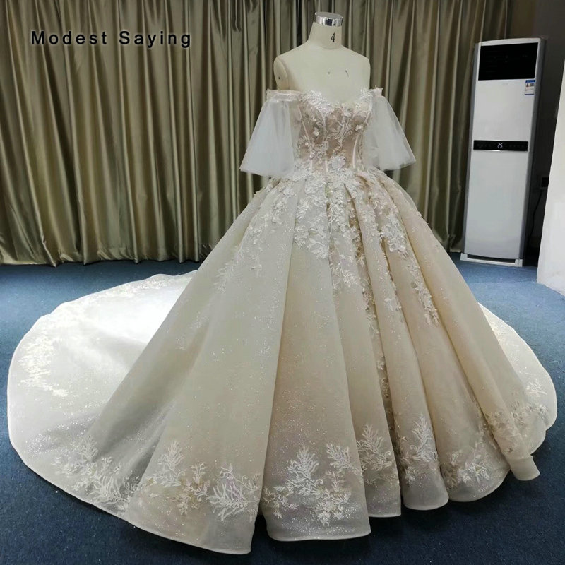 Luxury Champagne Ball Gown Sparkle Pearls Lace Wedding Dresses 2019 Cathedral Train Half Sleeves Bridal Gowns vestidos de noiva