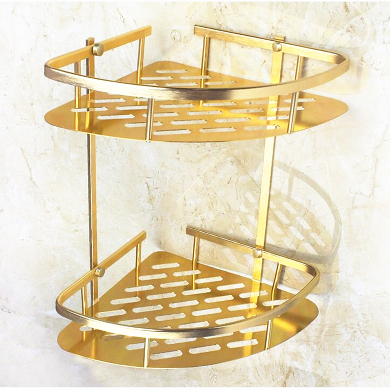 Bathroom Shelf Corner Basket Gold Shower Caddy for Shampoo Soap Hair Dryer Holder Triangle Shelves Wall Mounted banheiro etagere image