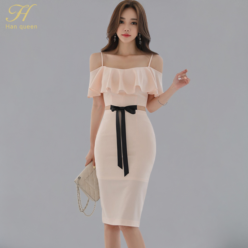 H Han Queen 2018 Summer New Women's Sexy Pencil Dress Hollow Out Strap Ruffles Bow Bandage Vestidos Split Long Sheath Ol Dresses by H Han Queen
