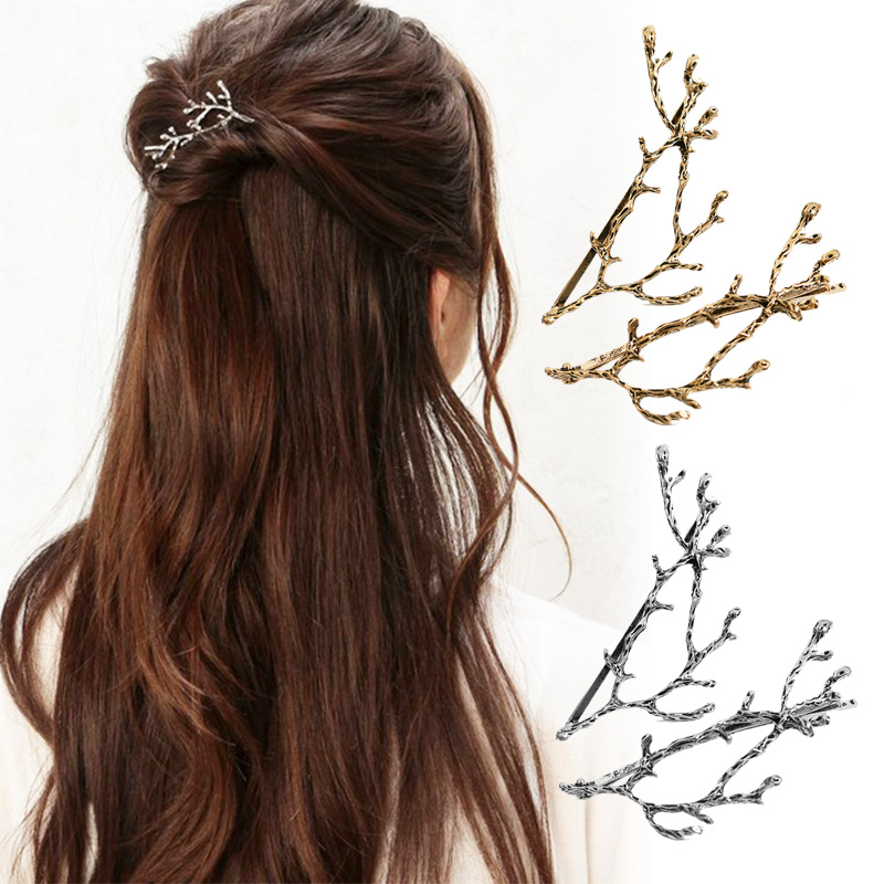 2PCS Golden Silvery Hairpins Sale Tree Branches Metal Women Girls Hair Clips Hair accessories   Headwear   Hair pins