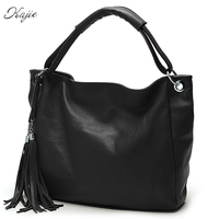 Kajie Women Tote Handbag Tassel Shoulder Bag Black Pu Leather Brown Top Hand Bags Ladies 2017