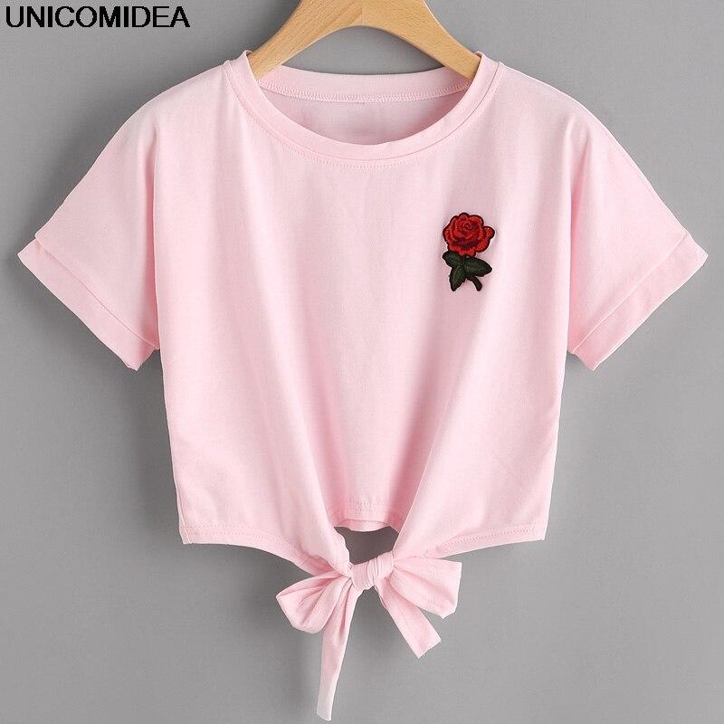 2017 Fashion Summer Kawaii Embroidery Rose Print Aliens T Shirts Women Short Sleeve Tops Tees Casual Female Pink T-shirt Ukraine