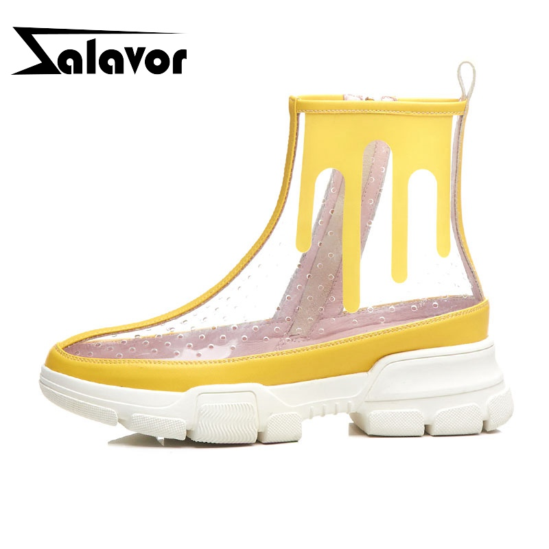 ZALAVOR Breathable Brand High Quaity Fashion Walking Shoes Women Club Thick Bottom Summer Boots Pvc Sneakers Footwear Size 34-40ZALAVOR Breathable Brand High Quaity Fashion Walking Shoes Women Club Thick Bottom Summer Boots Pvc Sneakers Footwear Size 34-40