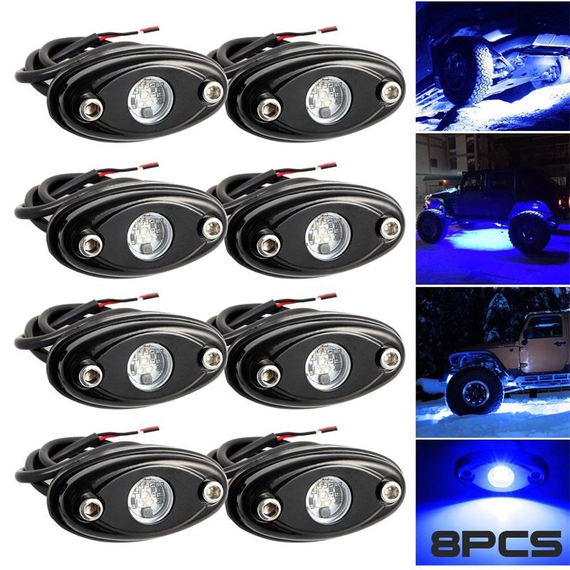 8 Pods LED Rock Light Universal Fit Waterproof  Cars Offroad Truck Boat Deck Underbody Interior Exterior (Blue) карты таро the magician universal waite tarot deck