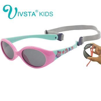IVSTA Flexible TR90 Little Baby Sunglasses Girls 0 1 2 3 Years Small Size Polarized Rubber Children Silicone Boys with Strap 852