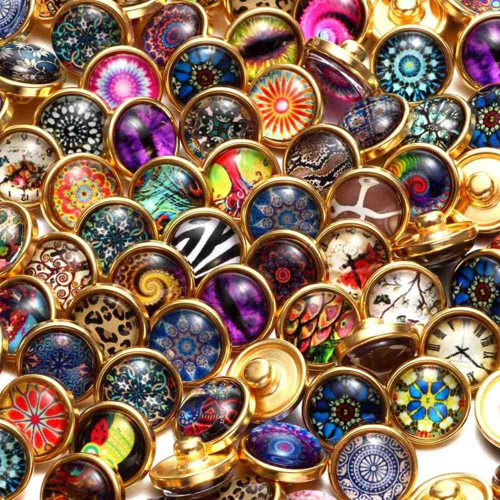 RoyalBeier, 20 шт, золотой цвет, 12 мм, кнопка оснастки, ювелирное изделие, отправлено случайным образом, медные стеклянные амулеты, подходящие кнопки, серьги, браслеты