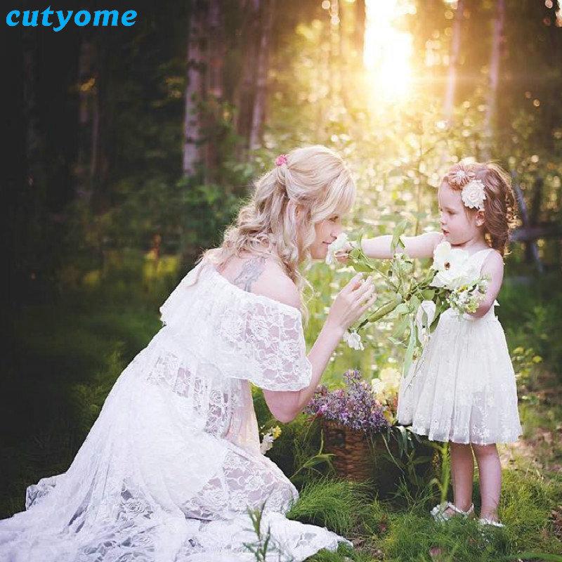 फोटो शूटिंग फीता सफेद पोशाक मातृत्व फोटोग्राफ़ी के लिए क्यूटोम मैटरनिटी ड्रेस लघु आस्तीन खिंचाव गर्भवती कपड़े