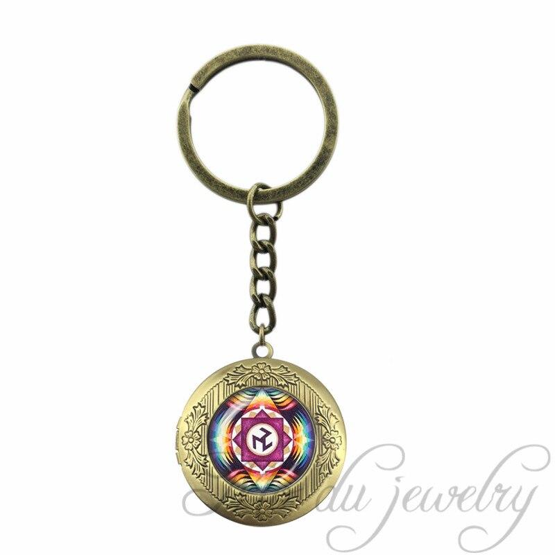 Handmade Key Chain Ring Chakra Locket Pendant Antique Bronze Plated