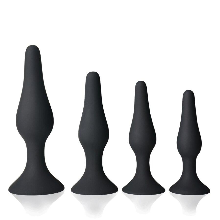 Arsch Anal Plug Trainer Kit Angenehme Sex Spielzeug Für Erwachsene Medizinische Silikon Sinnlichkeit Weiche Sichere Hypoallergen Schwarz 4 STÜCKE [49
