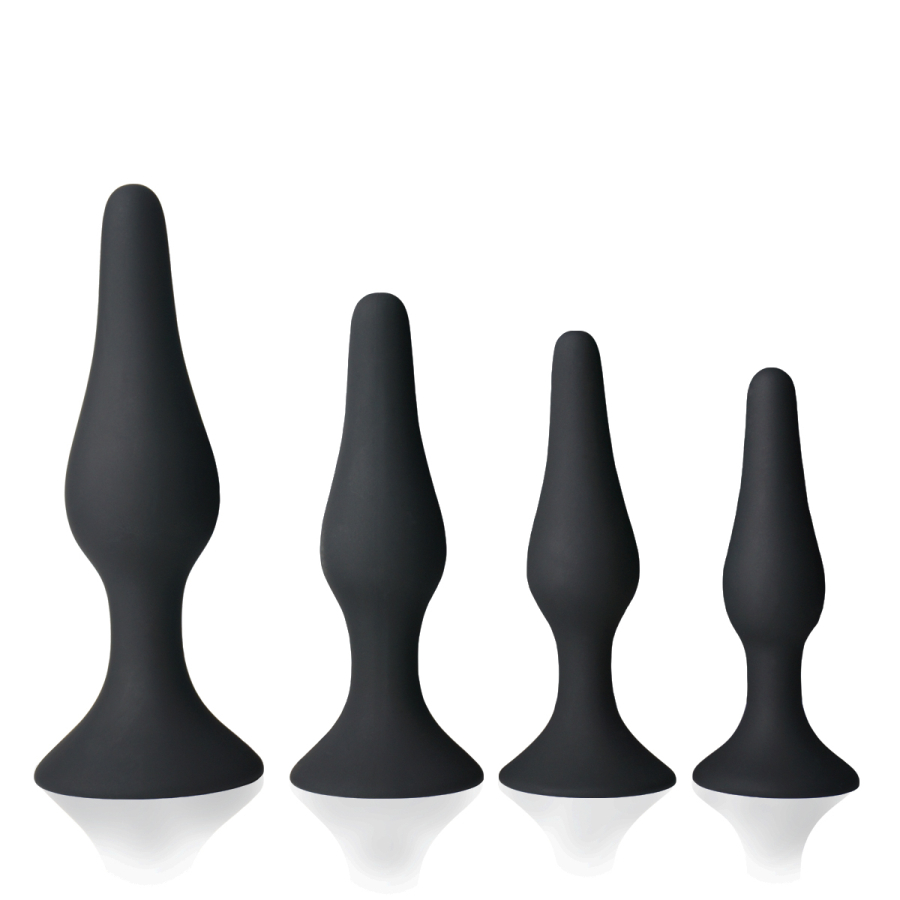 Butt Anal Plug Trainer Kit Pleasurable Sex Toy Adult Toys Medical Silicone Sensuality Soft Safe Hypoallergenic Black 4PCS [49
