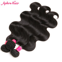 Aphro Hair Malaysian Body Wave 1 piece Remy Hair Weave 100g Bundles Human Hair Extensions Natural Color #1B 8-28inches