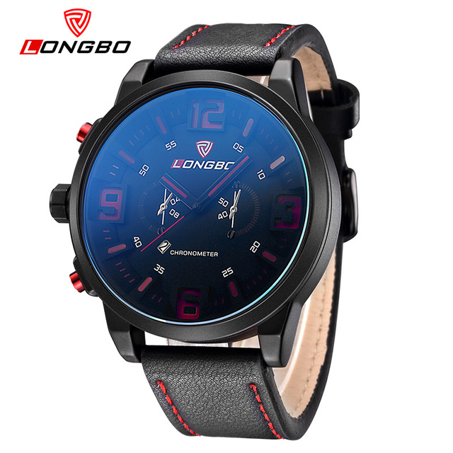 LongBo Sport Watch Blue Special Date Classic Design Leather Band Military Tag Waterproof Quartz Men Watches Left-handed Design 3
