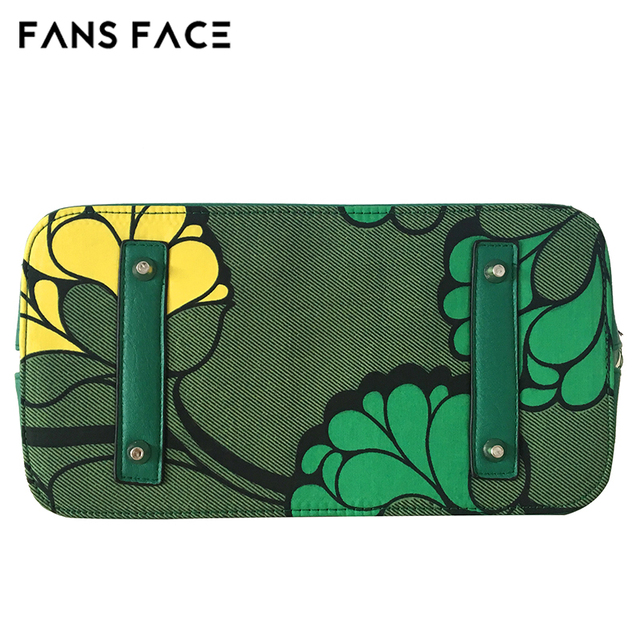 FANS FACE Fresh Summer Style Fashion African Print Green Handbag Female 2017 Luxury Handbags Women Bags Designer 30*16*41cm 4