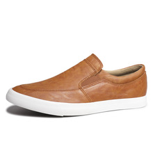 купить 2019 New Solid Soft Leather Loafers Men Casual Shoes Men Moccasins for Men Leather Slip on Flat Boat Shoes Chaussure Homme дешево