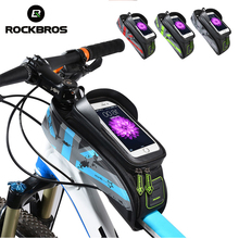 ROCKBROS MTB Road Bike Bags Rainproof Touch Screen Cycling Top Front Tube Frame 5.8/6.0 Phone Case Bicycle Accessories