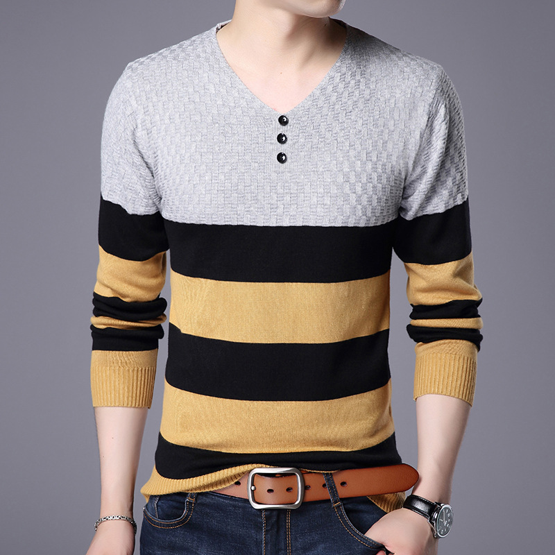 Men V-Neck Knitted Sweater 2018 Fall Winter New Striped Sleeve Bottom Shirt Casual Sweaters M-XXXL Size Optional