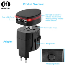 International Universal World Travel Power Adapter Dual-USB port  Wall Charger Conversion Socket for US UK EU AU/CNY Plugs