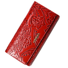 2017 floral pattern women wallets leather long purse luxury brand women wallet leather ladies coin purse