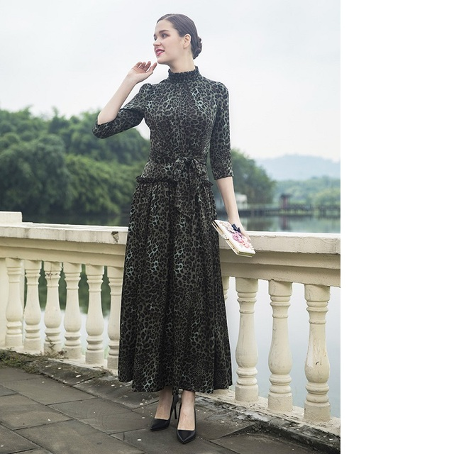 New 2019 Spring Summer Long Maxi Dress for Party Women Stand Neck Sexy Wild Leopard Print 3/4 Sleeve Vintage Long Dress Big Size
