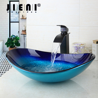 Bathroom Sink Washbasin Tempered Glass Hand Painted Waterfall 42638255 1 Lavatory Bath Combine Brass Set Faucet