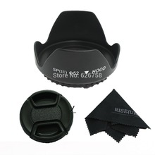 RISE(UK)52MM flower lens hood+snap-on front lens cap+black cloth for canon nikon pentax sony camera 52mm camera lens cap cover